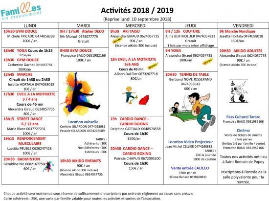 2018 2019 feuille activites